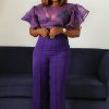 Purple Tracy Frill Top&DT signature Pants